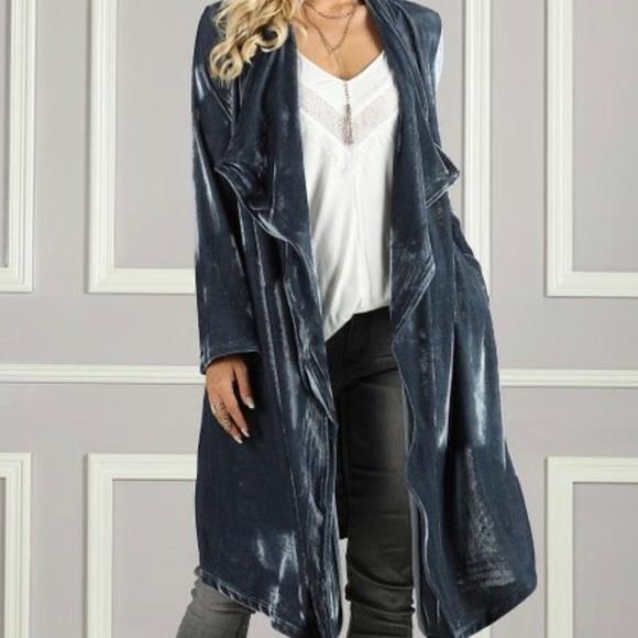 SUZANNE BETRO Plus Size Slate Gray Open Duster